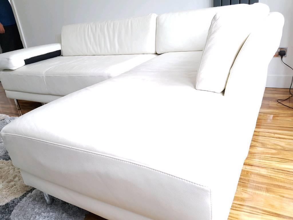 Habitat White Leather L Shape Sofa In Very Good Condition In  ~ White Leather L Shaped Sofa