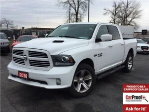 2016 Ram 1500 SPORT**CREW CAB**LEATHER**SPORT HOOD**