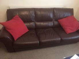 Lovely 3 & 2 Seater Soft Leather Sofas