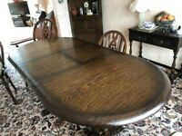Solid Oak, Dining Table and x4 Chairs