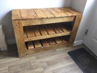 Reclaimed wood rustic shoe rack