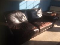 Two used matching brown leather sofas for sale. Pet free and smoke free house.