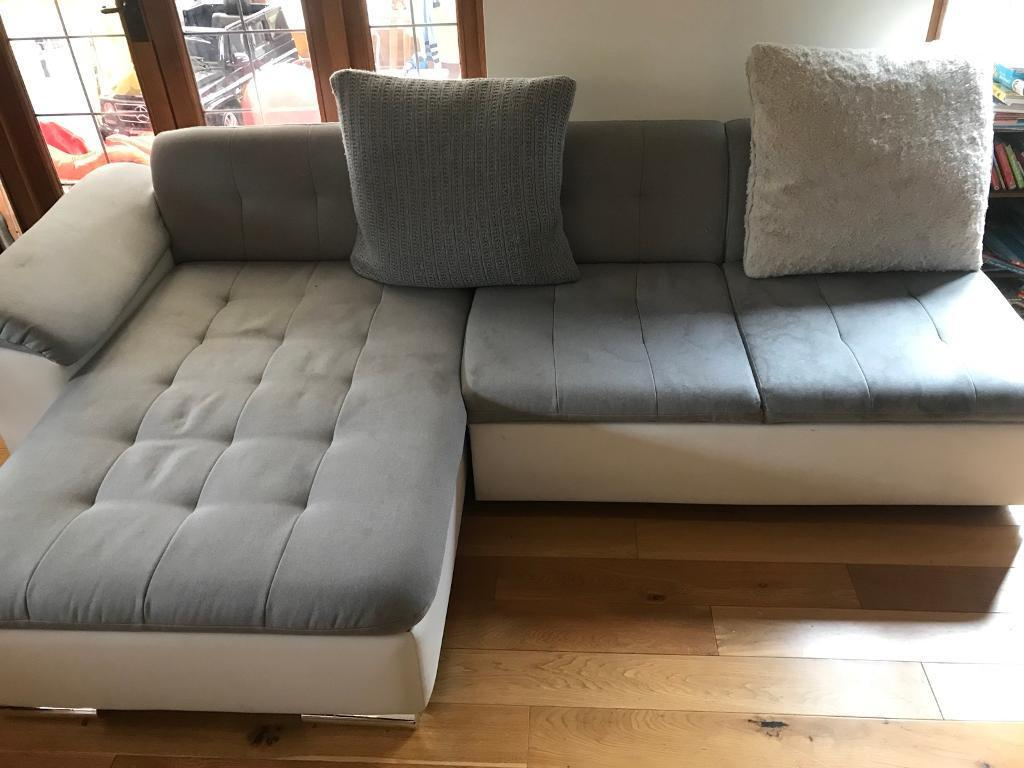 Modern Modular Large Corner Sofa Chair Grey And White In