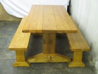 Farmhouse kitchen/dining table and benches. Handmade in Wales. Free delivery.