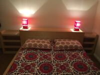 ikea king sise bed, lamp, curtain, clock