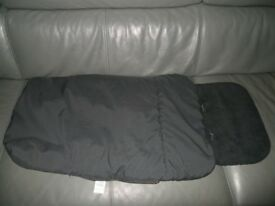 CLAIR DE LUNE BLACK FLEECED PUSHCHAIR FOOTMUFF BABY STROLLER WINTER COSYTOES