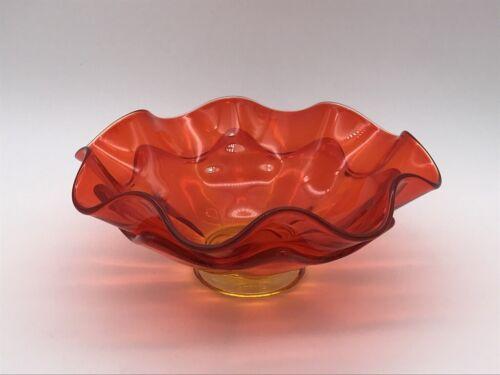 "VTG Mid Century Modern MCM Amberina Orange Petal Glass Bowl 8"" Ruffled"