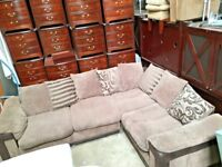 Large Fabric Brown Corded Corner Sofa - Lounge