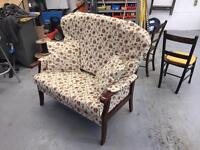 Newly re upholstered and refurbished antique chair sofa
