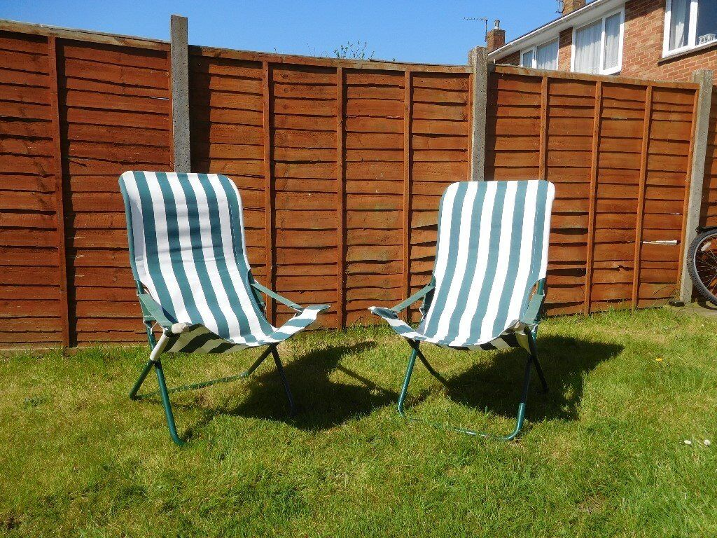 2 X Deck Chairs Adjule Metal Framed Green And White Striped Canvas