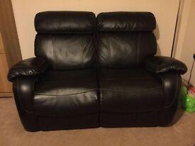 Black 2 seater reclining sofa