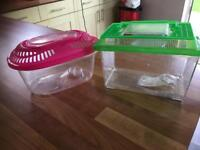 2 Transportation Tanks in excellent condition £5 for both with Fish Food