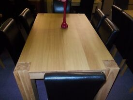 New alston dining table + 6 black skirted chairs
