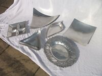 6 Various Aluminium Dishes for Fruit or Nuts. Good Condition. Price listed is for the lot.