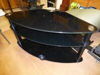 TV Stand , black 3 shelf tempered glass