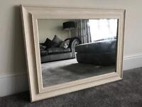 White Washed Effect Wooden Mirror