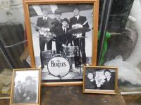 3 BEATLES PICS ALL IN GLASS FRAMES £10 THE LOT !