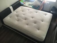 Modern Design Faux Leather King Size Black and White Bed and king size mattress