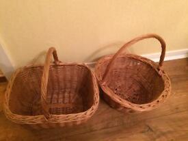 2 Vintage Wicker Baskets