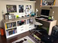 Desk with matching wall shelve