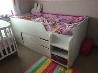 Kids mid sleeper bed with storage