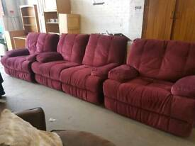 Large velour fabric two seater sofa with matching reclining armchairs