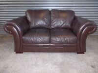 Creations Brown Leather Roll Arm Sofa (Suite)