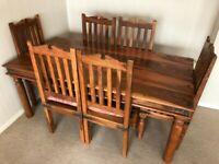 Large Solid Wood Dining Table, x6 Chairs