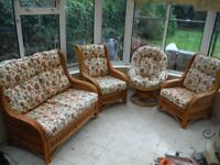 Cane furniture (with or wothout cushions) - 4 piece (2 seater, 2 single seaters and 1 swivel chair)