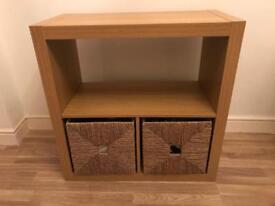 IKEA sideboard shelf unit with wicker baskets