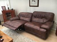 Electric Recliner Italian Brown Leather Four Seater Sofa.Very Good Condition.