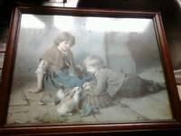 Antique felix schlesinger original painting in original frame