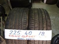 matching pair 225 40 18 contisport 5s 6mm tread £80 pair supp & fitd(LOADS MORE AV 7-DAYS) TEXT size