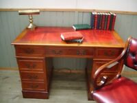Stunning Oxblood Leather Inlay Desk and Chesterfield Captains Chair