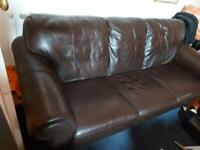 3 seater brown leather seater
