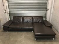 FREE DELIVERY REAL BROWN LEATHER L-SHAPED CORNER SOFA GREAT CONDITION