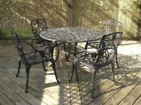 CAST ALUMINIUM PATIO TABLE , CHAIRS AND CUSHIONS