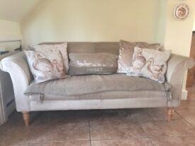 John Lewis cream fabric sofa 2 seater. Used, decent condition