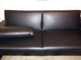 BLACK FAUX LEATHER SOFA SETTEE BED
