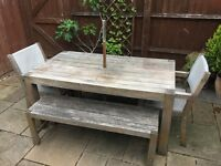 Solid Wood Garden Table With 2 Chairs & 2 Benches