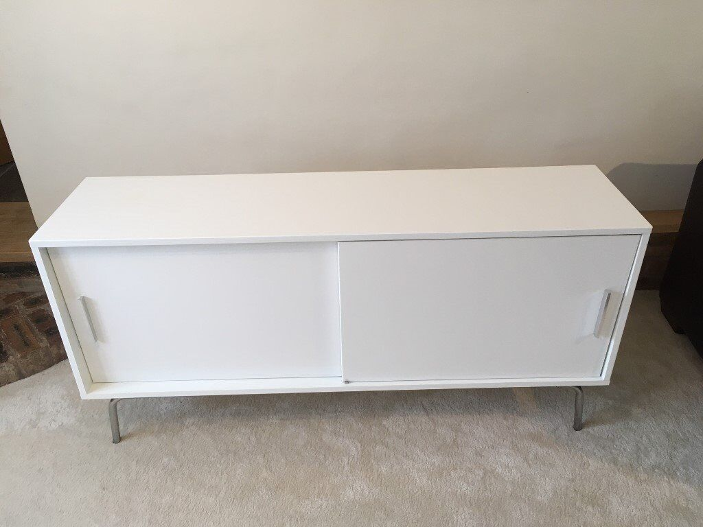 White Gloss Sideboard Storage Cabinet With Shelves And Sliding Doors Ikea Torsby
