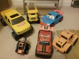 Tonka and other vehicle toy collection.