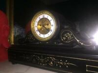 Large Black Slate and Marble Mantle Clock
