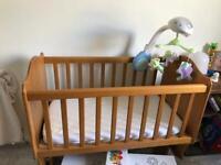 Solid oak Boori baby rocking cot