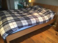 Ikea wooden king sized bed frame
