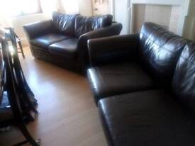 2 Chestnut Leather Sofas for sale