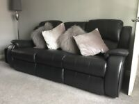 SOLD! Black Leather 3 Seater Recliner Sofa & 2 Recliner Chairs