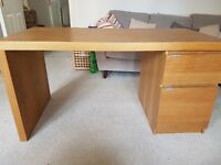 Wooden Desk with Drawer and Cabinet