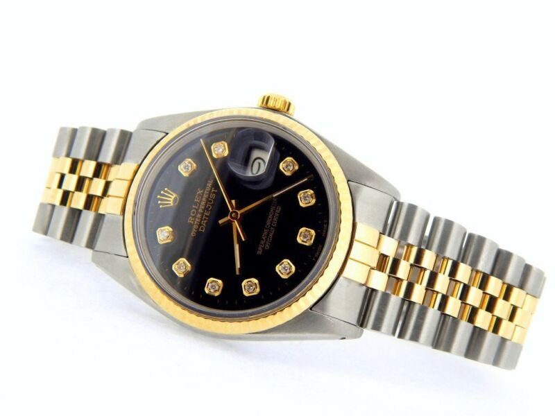 Rolex Datejust Mens Stainless Steel Yellow Gold Watch Diamond Black 16013