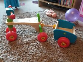 Childs wooden trike and trailer